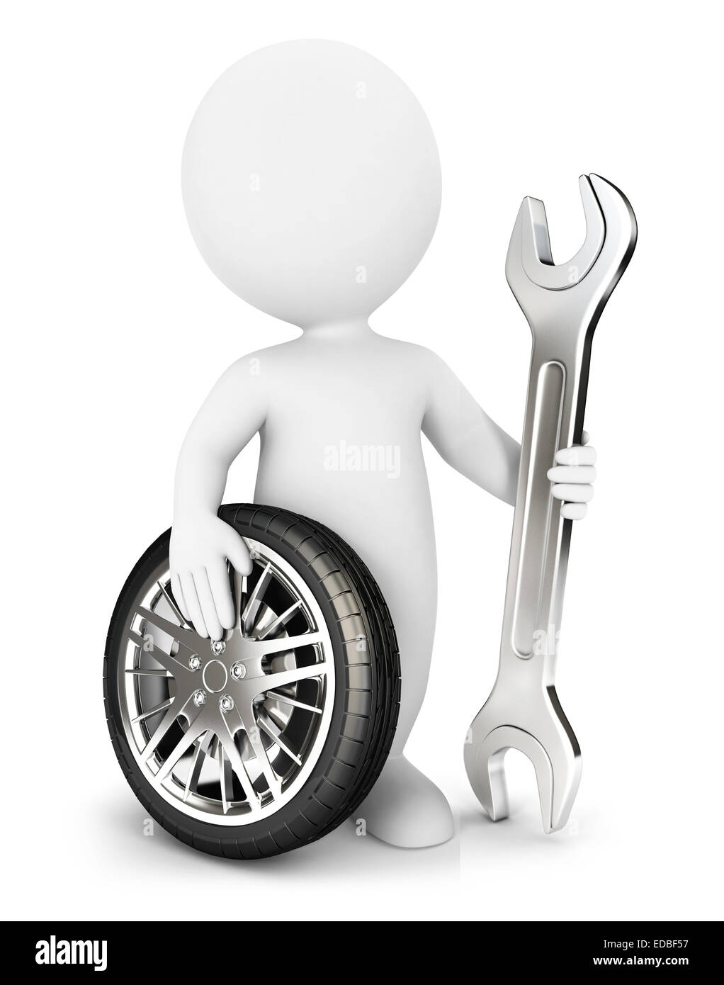 3d white people mechanic, isolated white background, 3d image Stock Photo