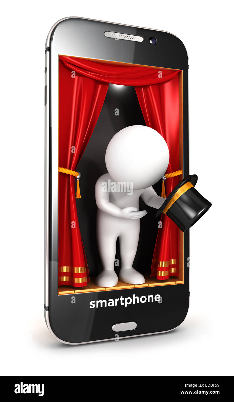 3d white people on smartphone stage, isolated white background, 3d image Stock Photo
