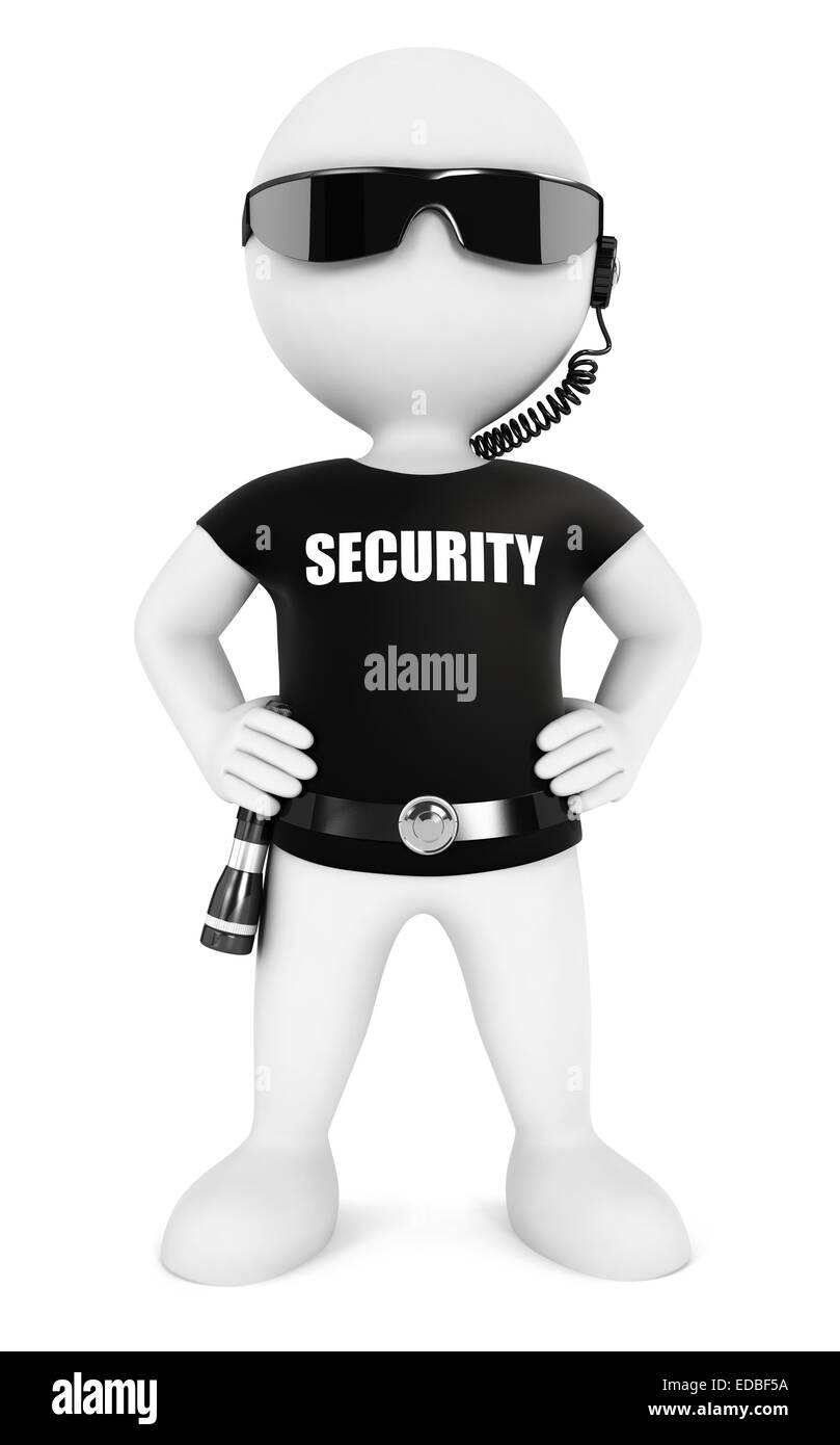 3d white people security guard, isolated white background, 3d image Stock Photo