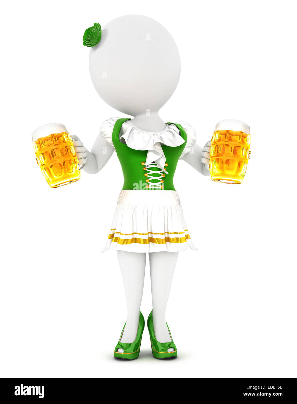 3d white people woman oktoberfest, isolated white background, 3d image Stock Photo