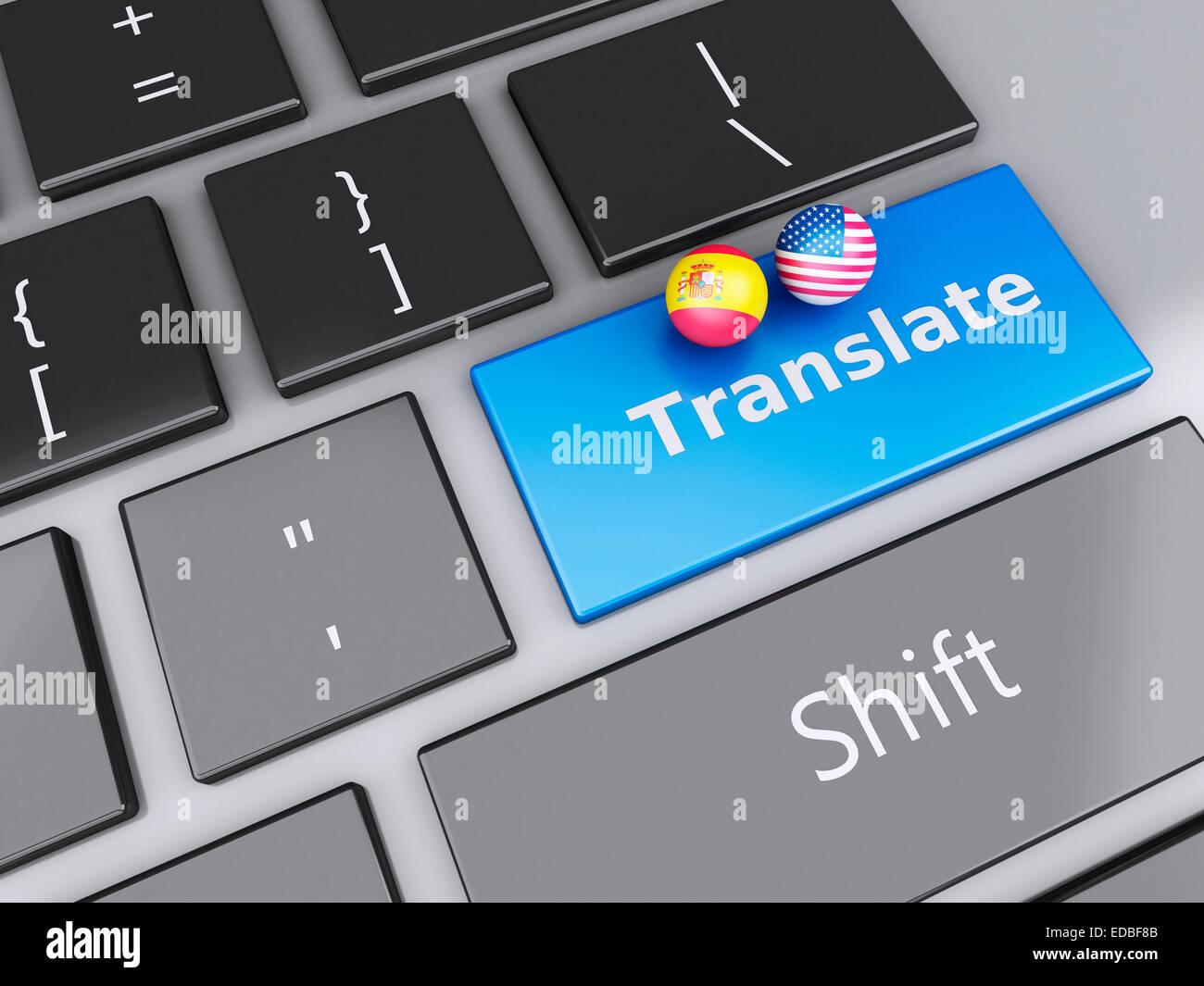 3d renderer illustration translation button on computer keyboard