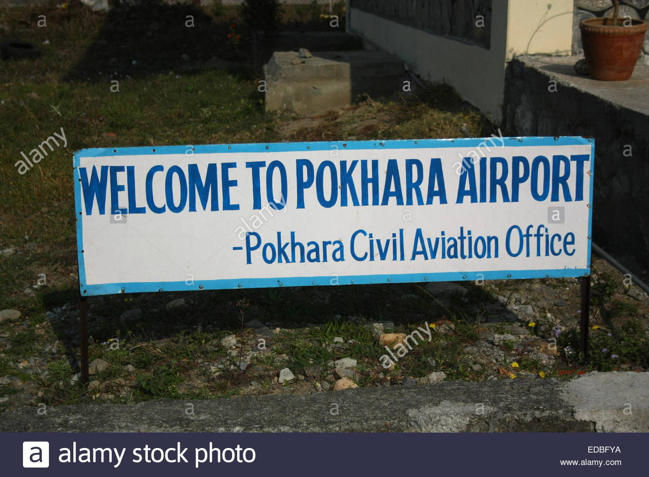 WELCOME TO POKHARA AIRPORT - Pokhara Civil Aviation Office - Stock Image