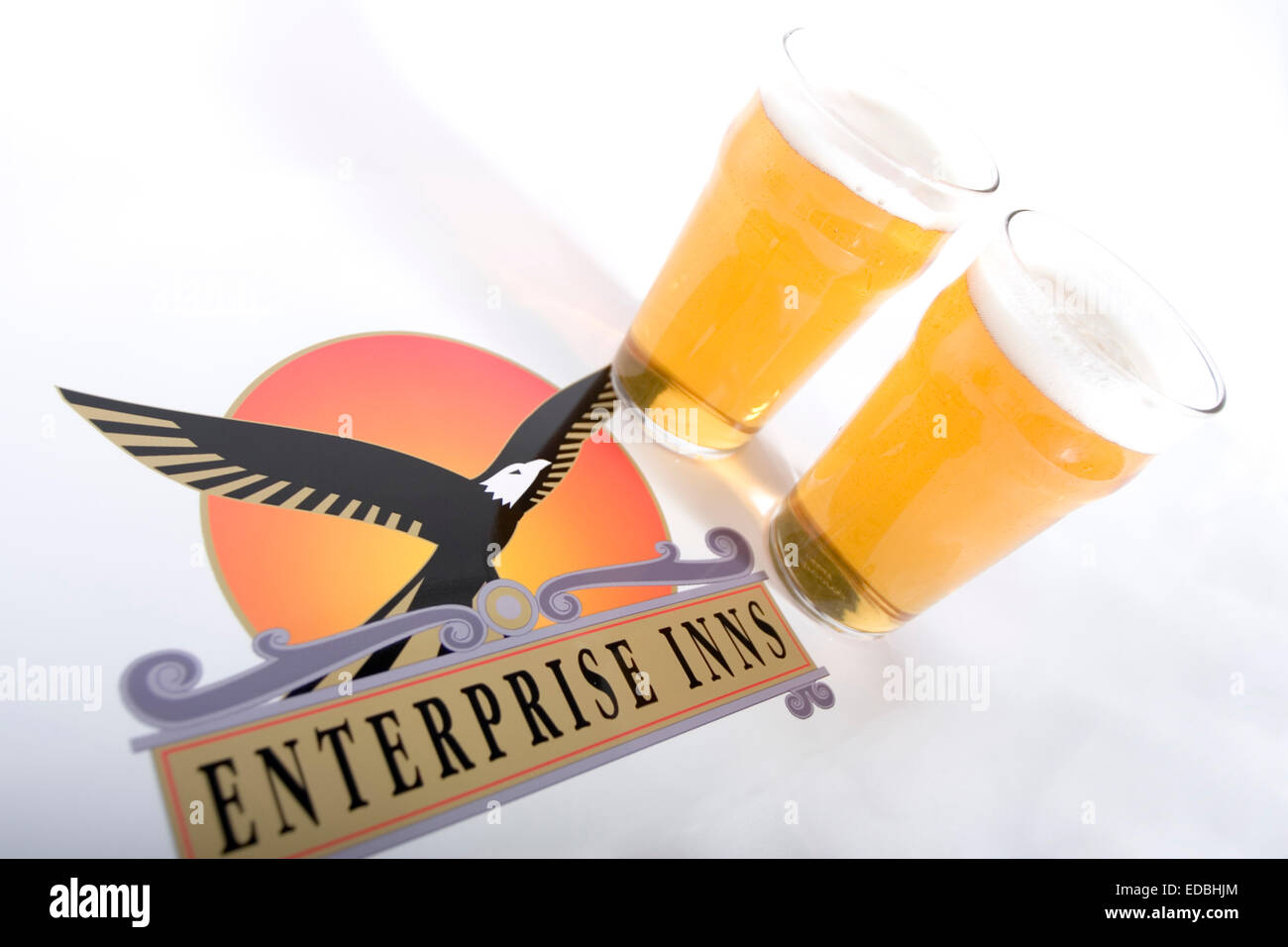 Illustrative image of the Enterprise Inns logo and two pints of larger - Stock Image