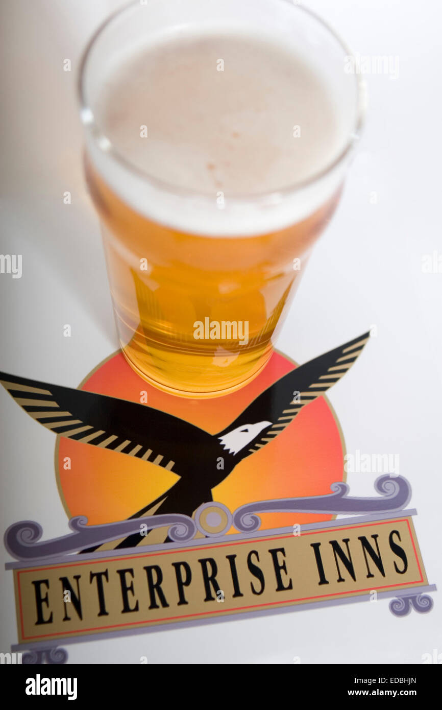 Illustrative image of the Enterprise Inns logo and a pint of larger - Stock Image