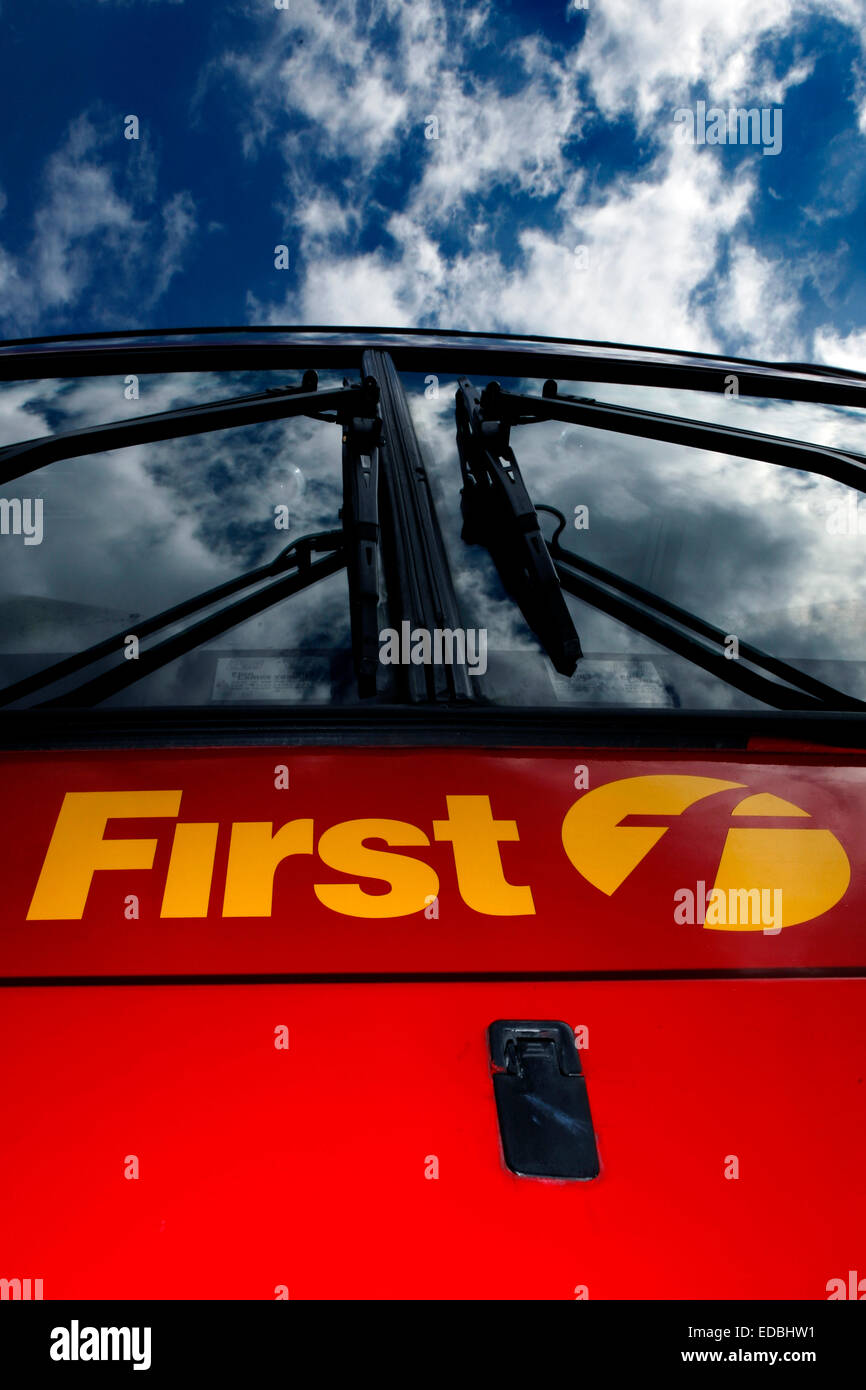 Illustrative image of a Frist Group branded bus. - Stock Image