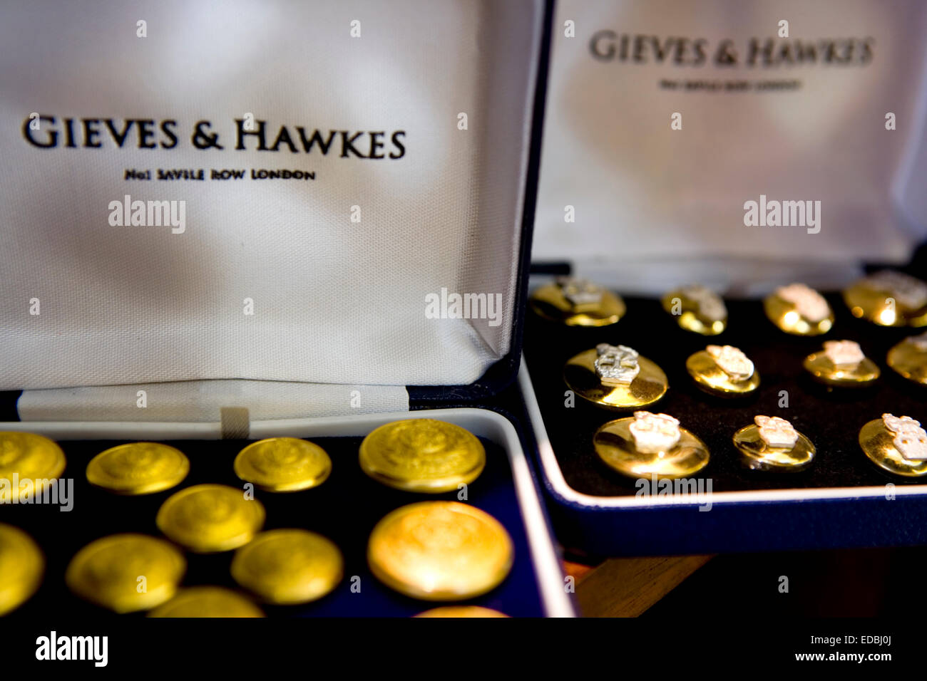 Close-up picture of accesories in the flagship Gieves & Hawkes on Savile Row, London. - Stock Image