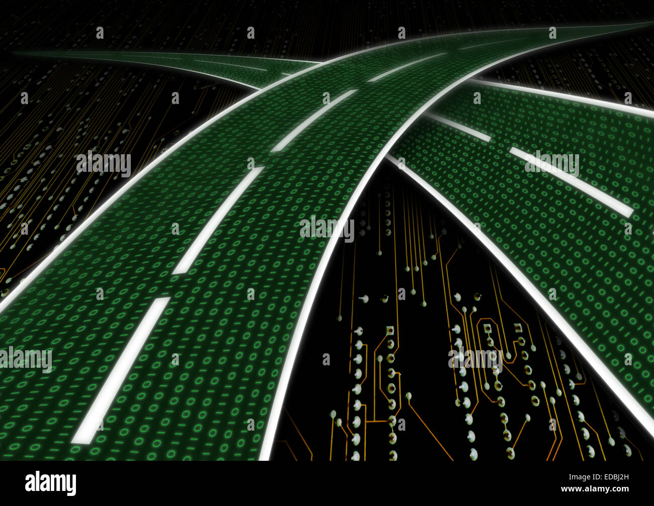 Digital highway data streaming series of digits binary code zeros number ones one as a road freeway - Stock Image