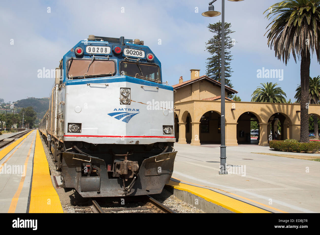 Santa Barbara Railway Station in California, United States serving the Coast Starlight and the Pacific Surfliner - Stock Image