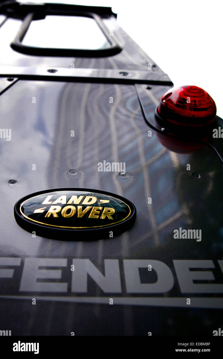 Pictured: The Land Rover emblem. - Stock Image