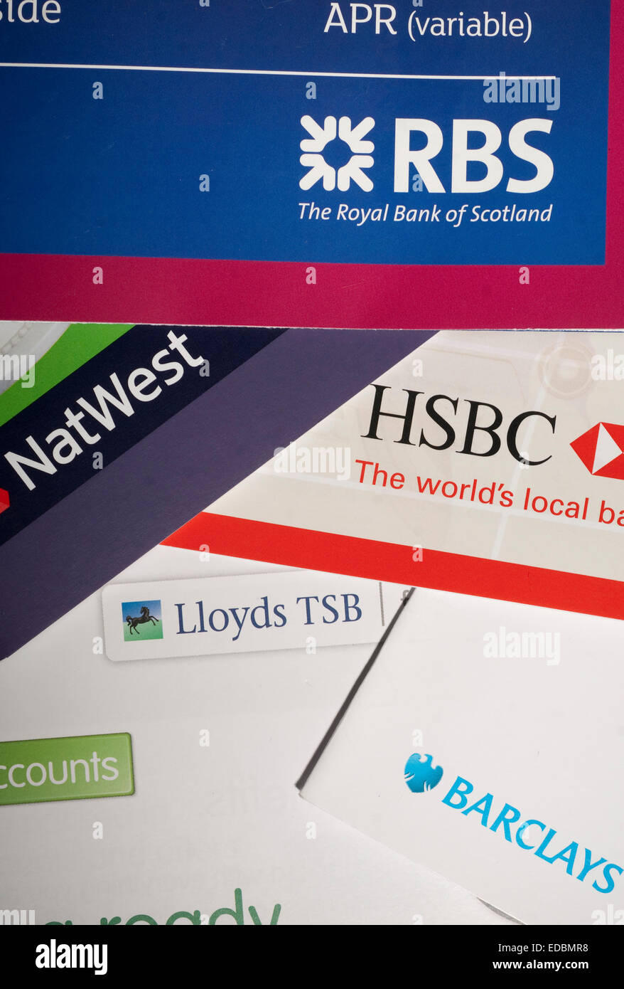 A selection of UK bank promotional materials. - Stock Image