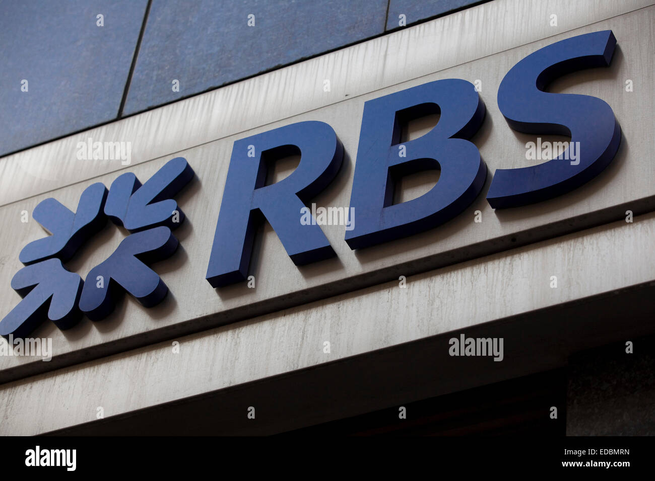 The RBS logo outside a branch in London. - Stock Image