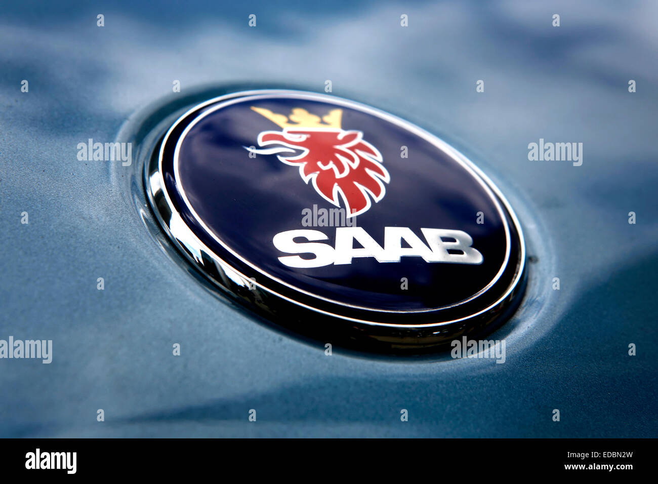 Picture shows a highly polished blue Saab on the Motorexpo exhibition in Canary Wharf, London. - Stock Image