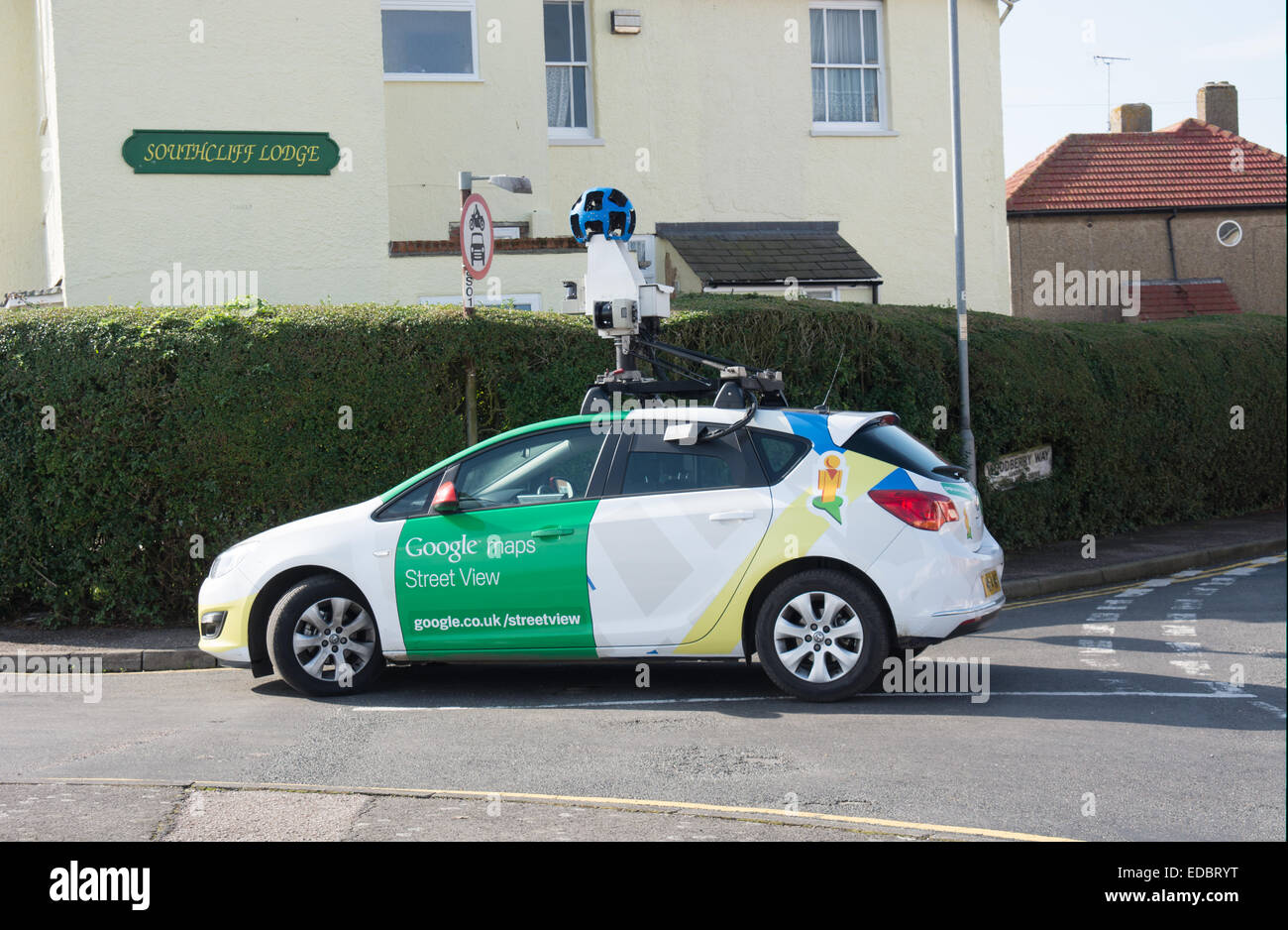 A Google street view map car completes its task in Walton-on-the-Naze, Essex - Stock Image