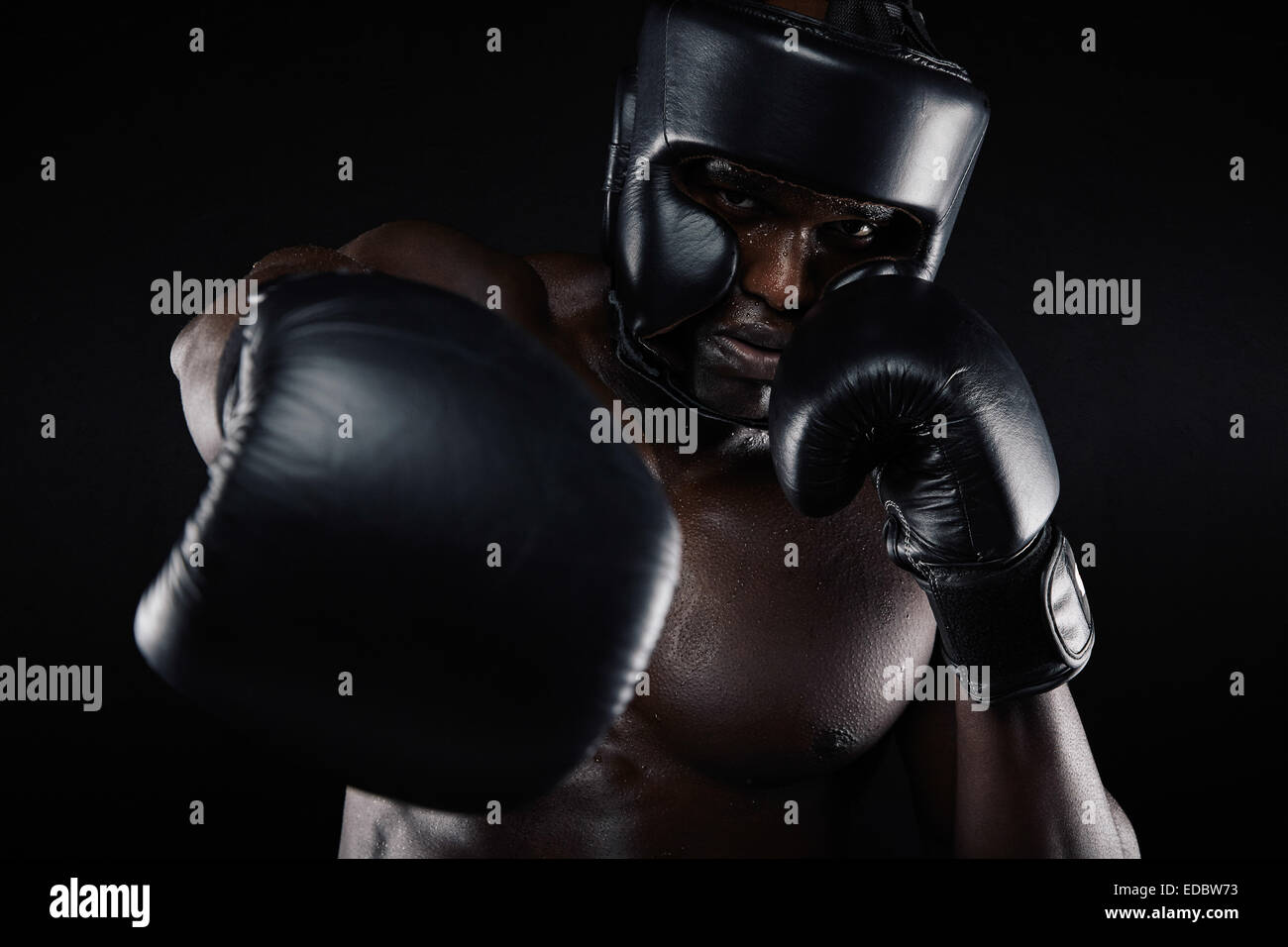 Portrait of African male practicing boxing looking at camera against black background. Male boxer throwing a punch - Stock Image