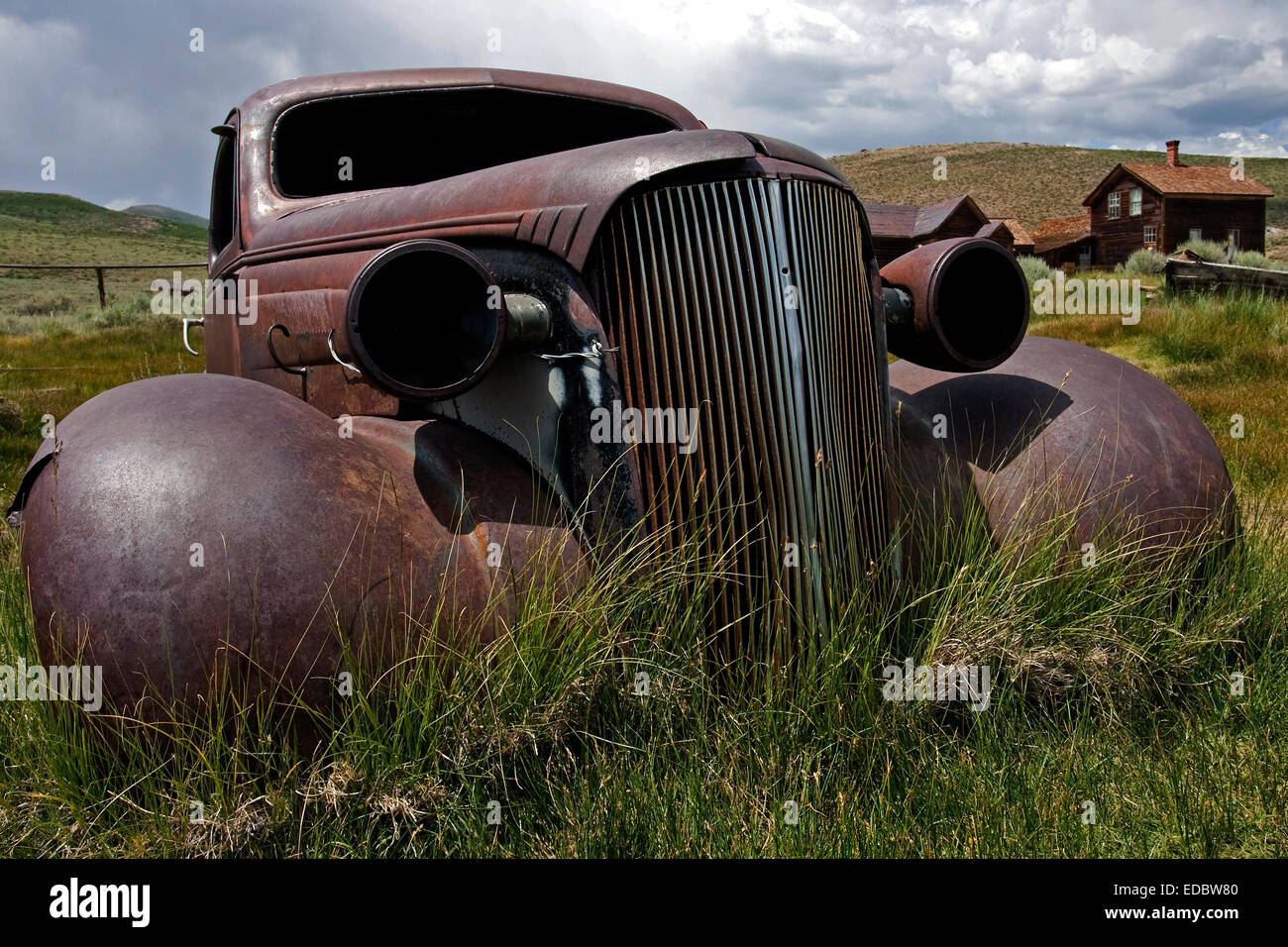 Rusted Chevrolet, 1930s, Ghost Town, old gold mining town, Bodie State Historic Park, Bodie, California, United Stock Photo