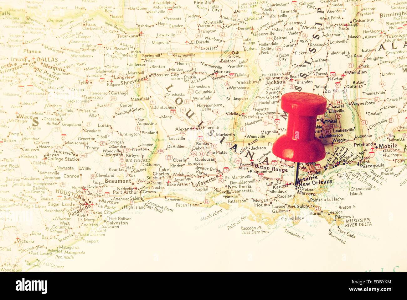 Red Pin On Map Pointing At New Orleans Louisiana Stock Photo
