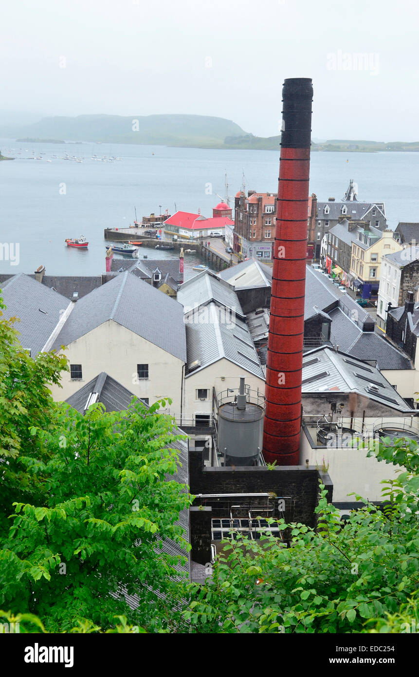 View over the town of Oban, Scotland, with Oban Distillery in the Foreground - Stock Image