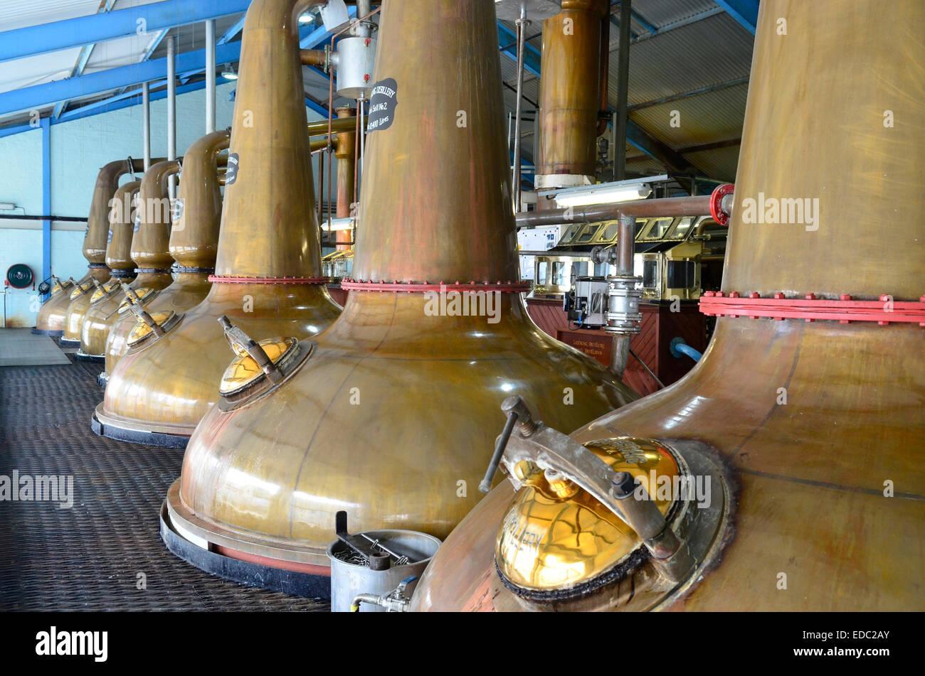 Copper Stills at the Laphroaig Distillery in Islay, Scotland - Stock Image