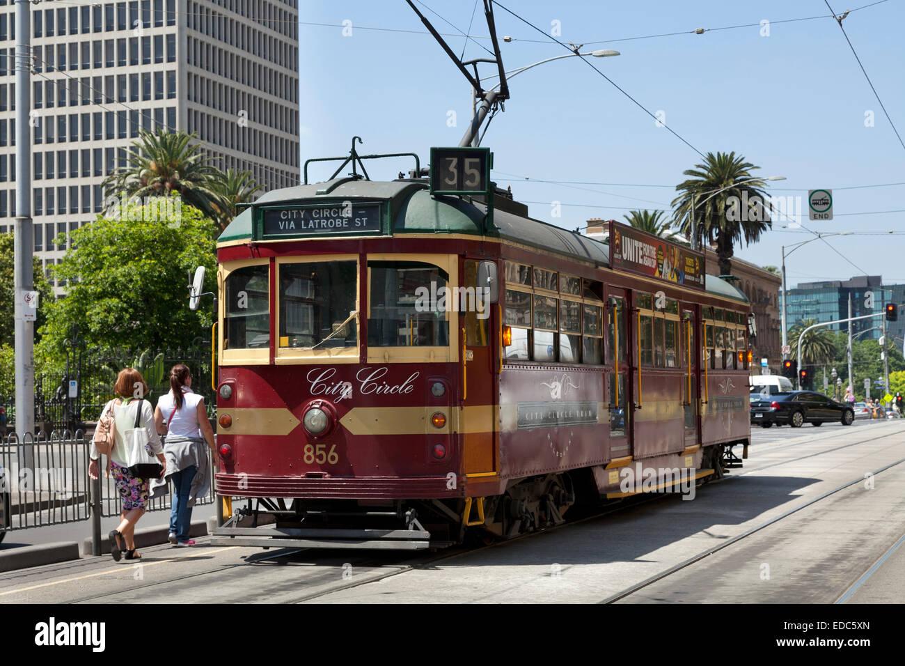City circle tram in Melbourne, Australia - Stock Image