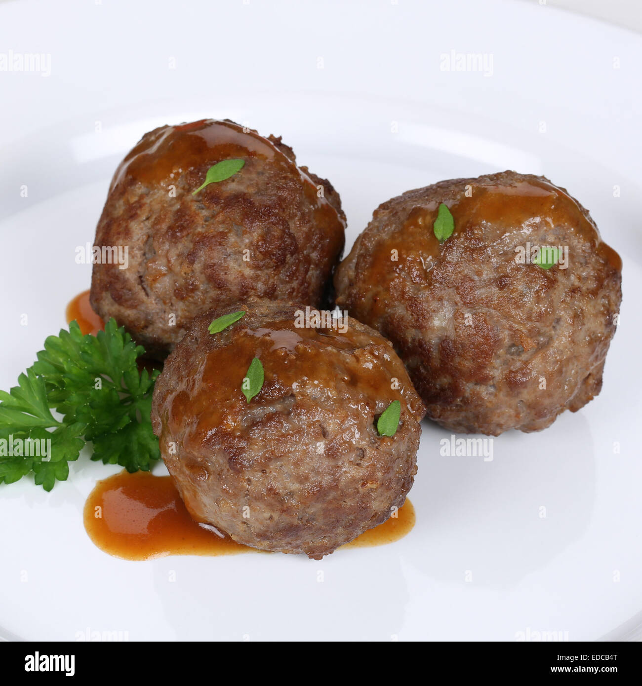 Meatballs, meat balls or Köttbullar meal on plate - Stock Image