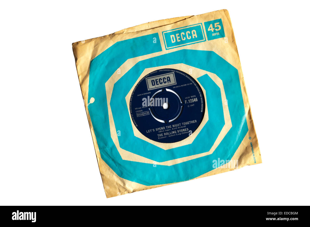 Double A-side single of Let's Spend the Night Together and Ruby Tuesday released by The Rolling Stones in 1967. - Stock Image