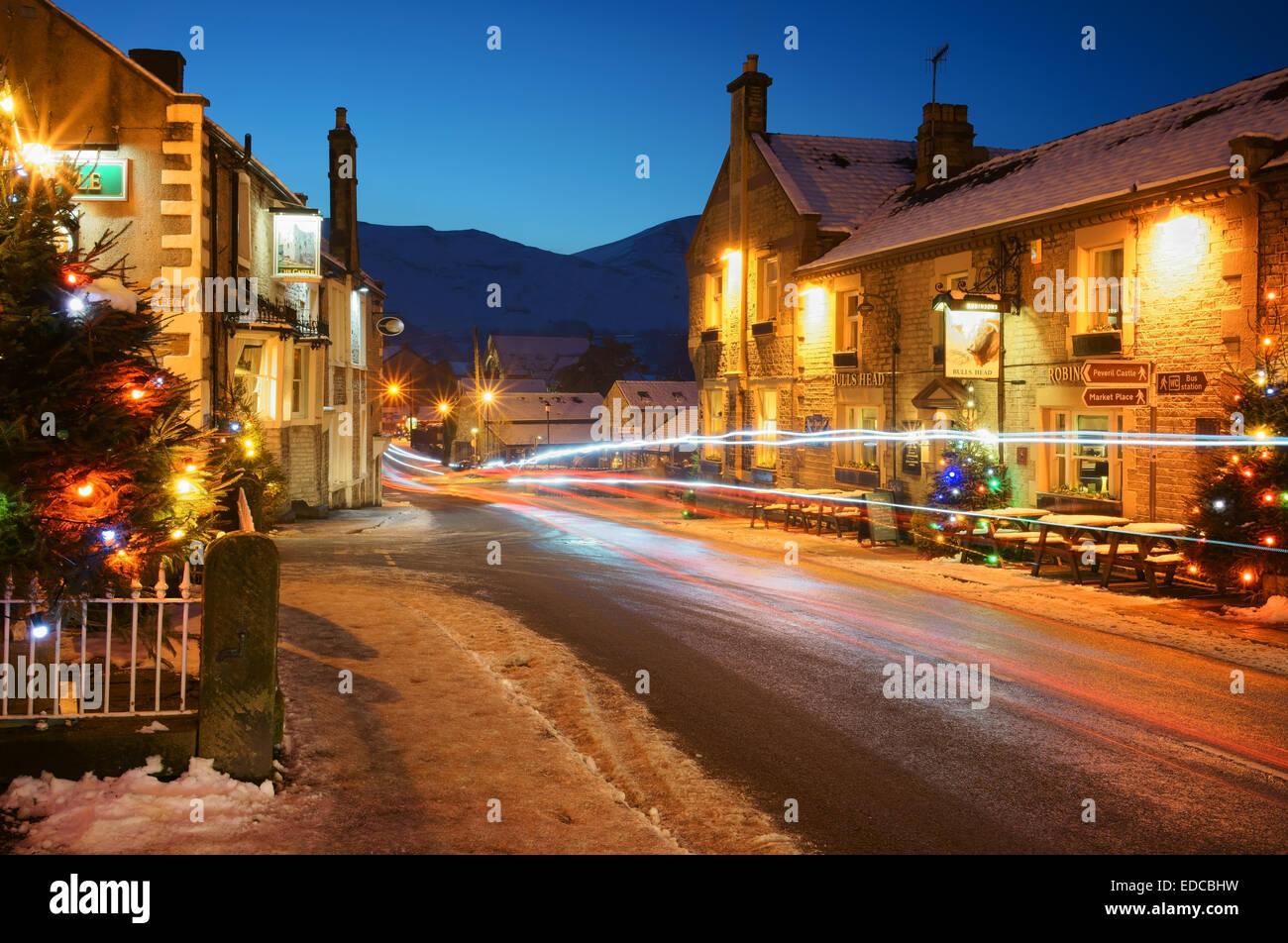 UK,Derbyshire,Peak District,Castleton,Christmas Lights with Mam Tor ...