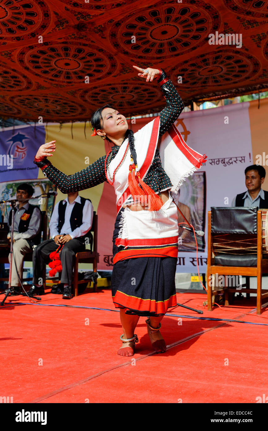 Nepali  girl dancer performing traditional Nepal dance called Hijo Rati Sapani Ma Nepali Dance called Hijo Rati - Stock Image