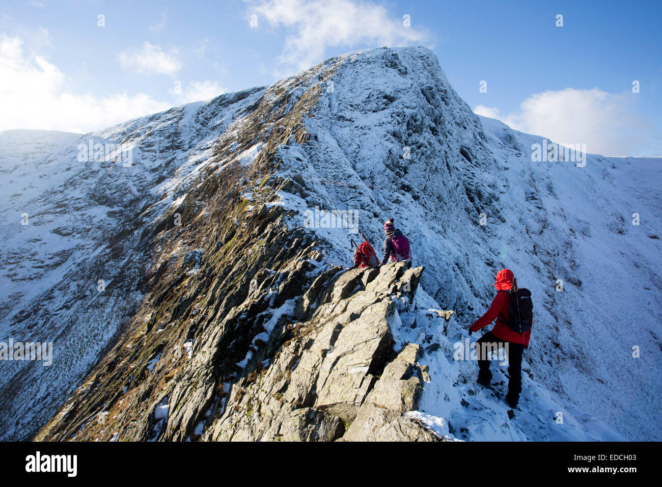 Winter scrambling on Helvellyn and Blencathra in the Lake District National Park, Cumbria, UK - Stock Image