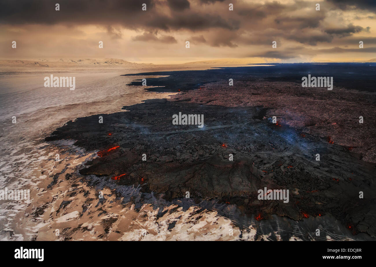 Aerial view of lava and plumes. Holuhraun, Bardarbunga Volcano, Iceland - Stock Image