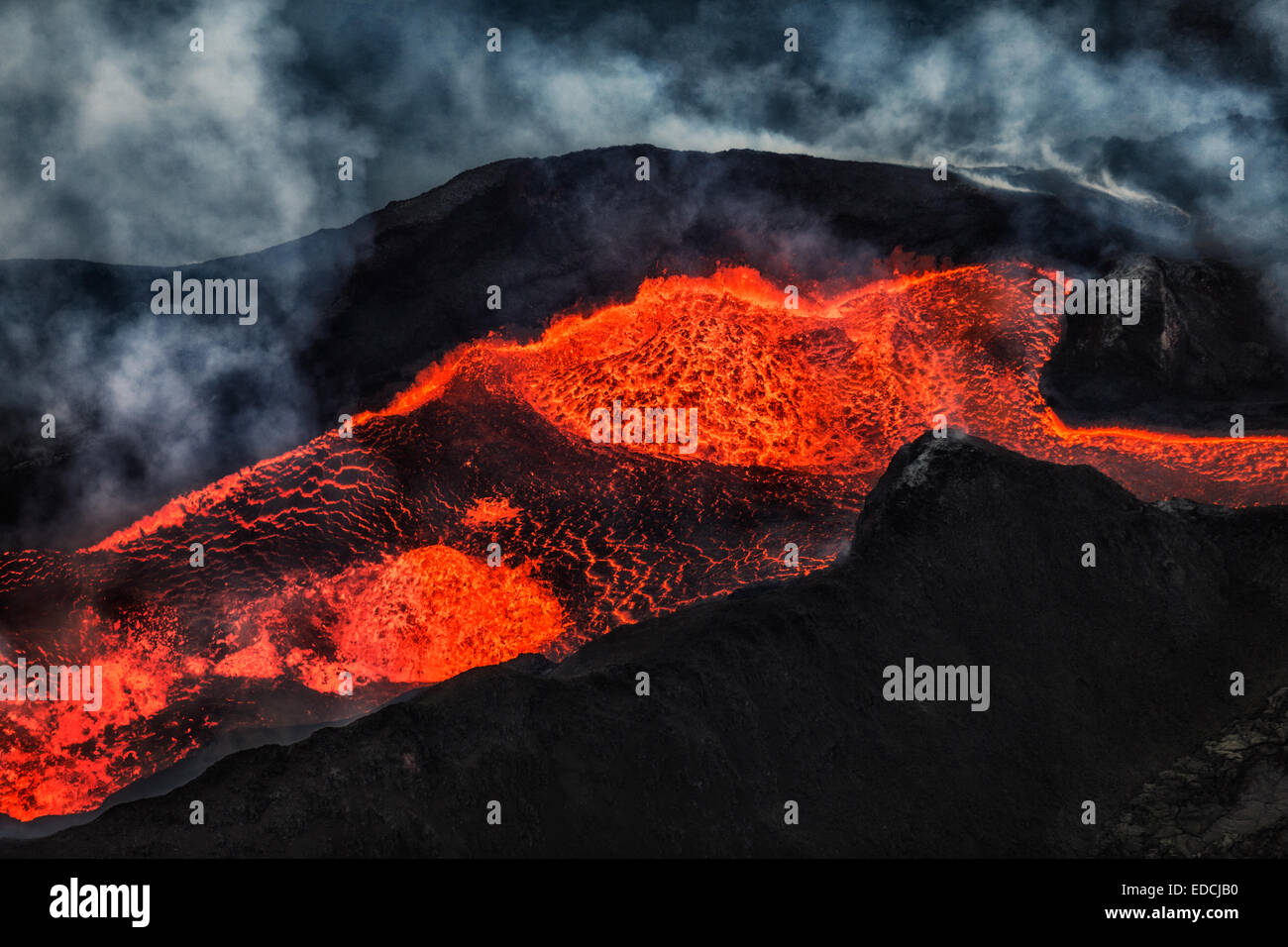 Aerial view of lava and plumes, Holuhraun Fissure Eruption, Bardarbunga Volcano, Iceland - Stock Image