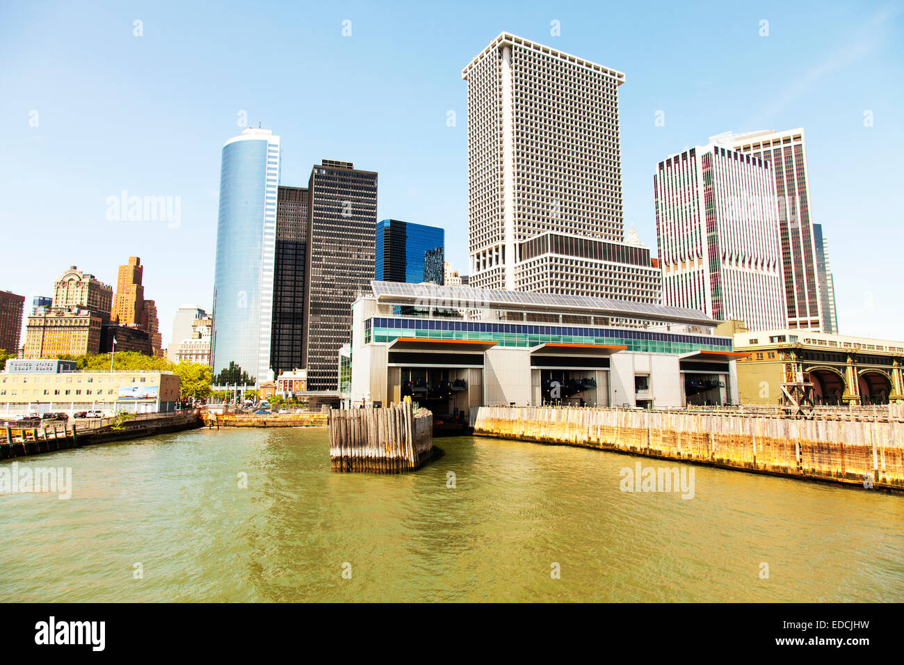 Staten island ferry dock docking station Manhattan New York City NY NYC USA America United States - Stock Image