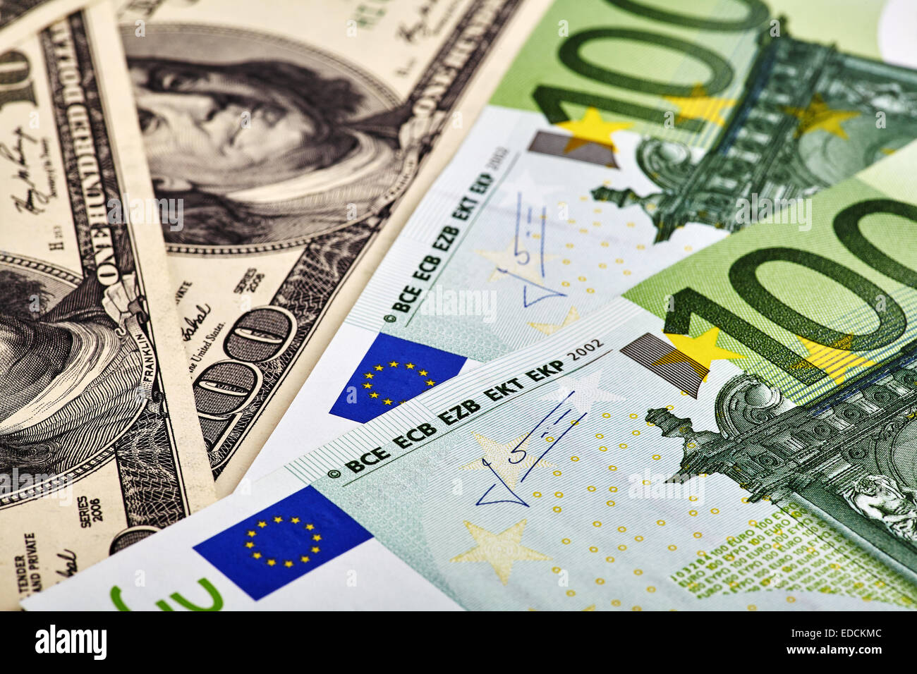 USD EUR banknotes - Stock Image
