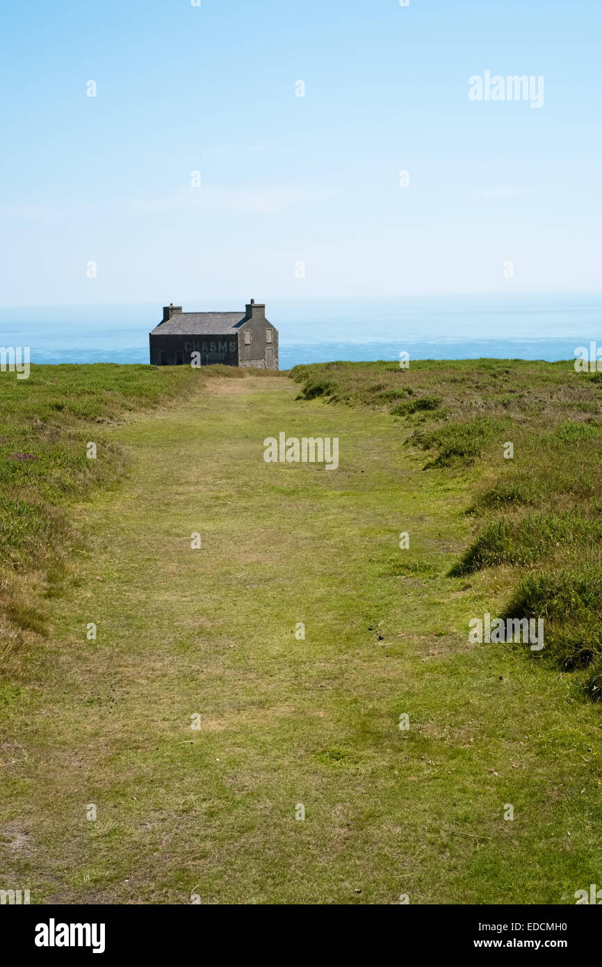 Isle of Man - footpath leading to the chasms. In the southwest of the Island near the village of Cregneash. Stock Photo