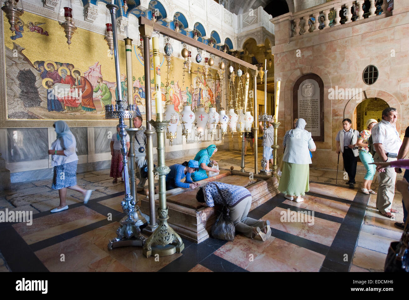 The stone of the Anointing at the Church of the Holy Sepulchre. Also known as 'The Stone of Unction - Stock Image