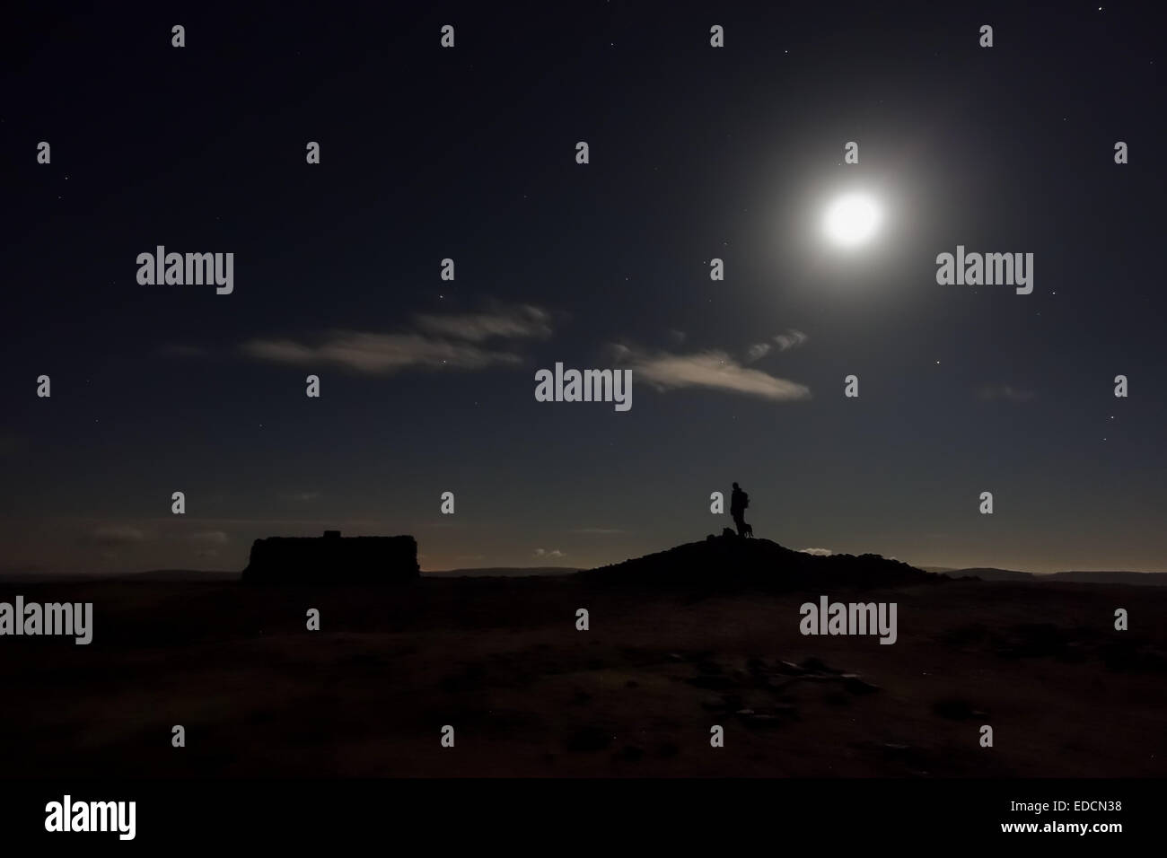 Beautiful moonlit ascent of Ingleborough taken from the summit - Stock Image
