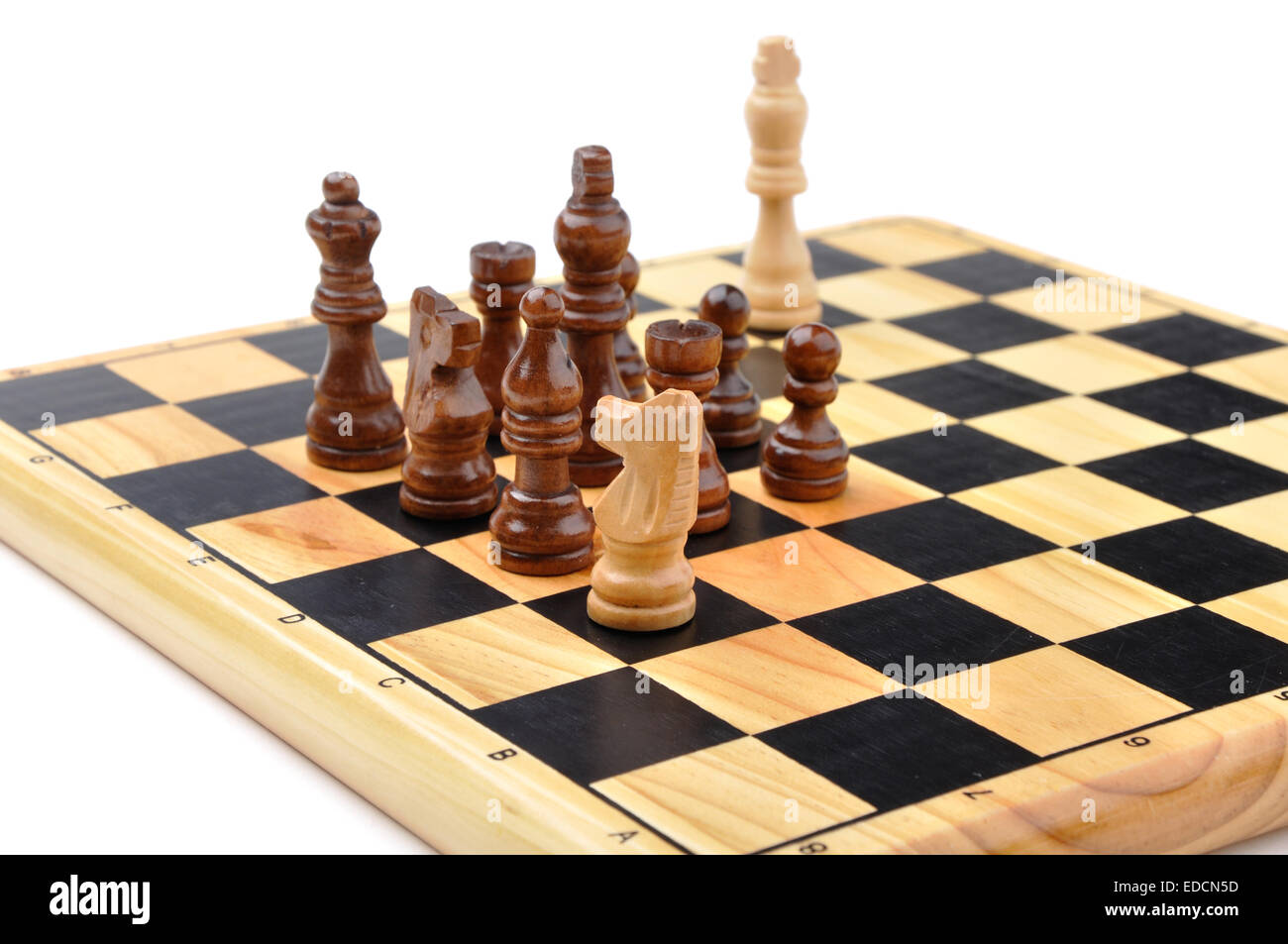 checkmate made by one chess horse with total advantage of opponent - Stock Image