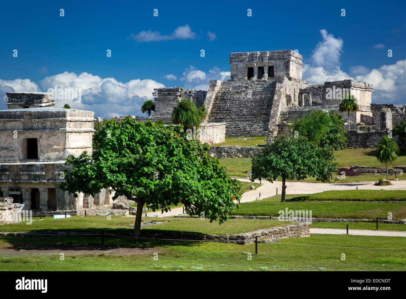 Ruins of the Mayan temple grounds at Tulum, Quintana Roo, Yucatan, Mexico - Stock Image
