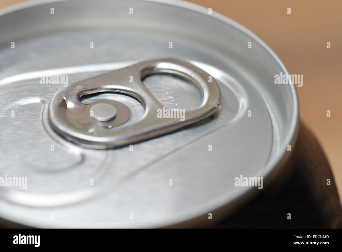Aluminum can top and ring pull - Stock Image