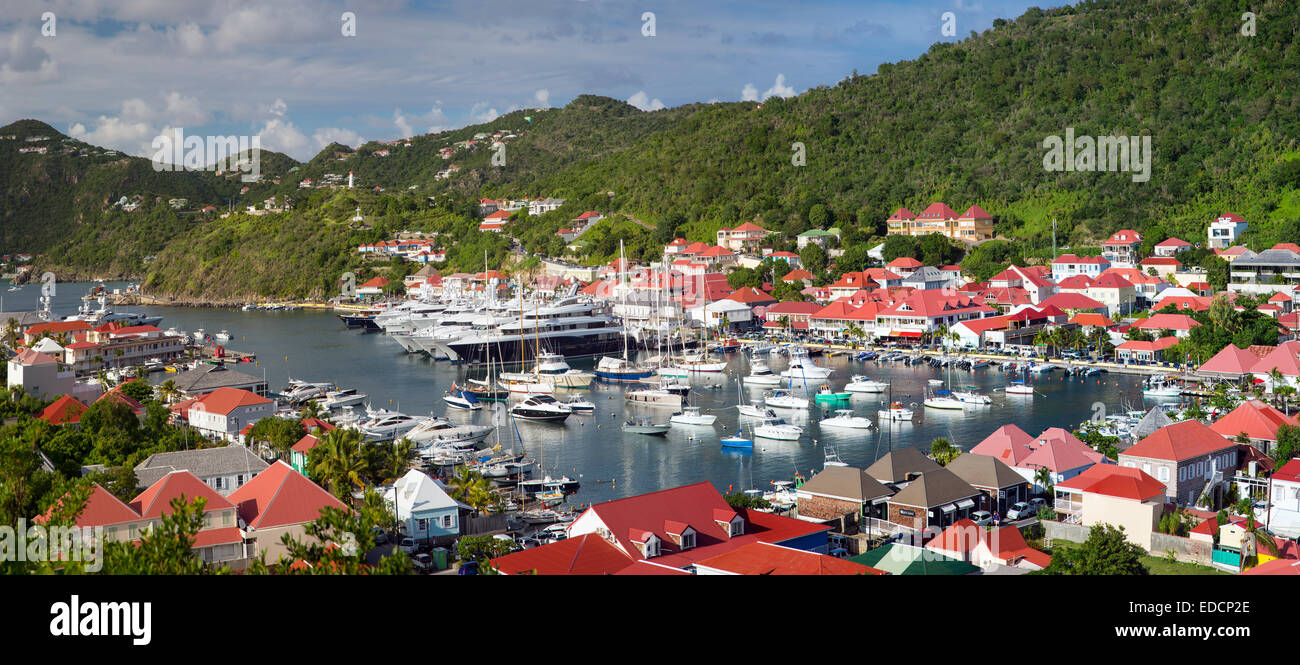 Boats crowd the marina in Gustavia, St Barths, French West Indies - Stock Image