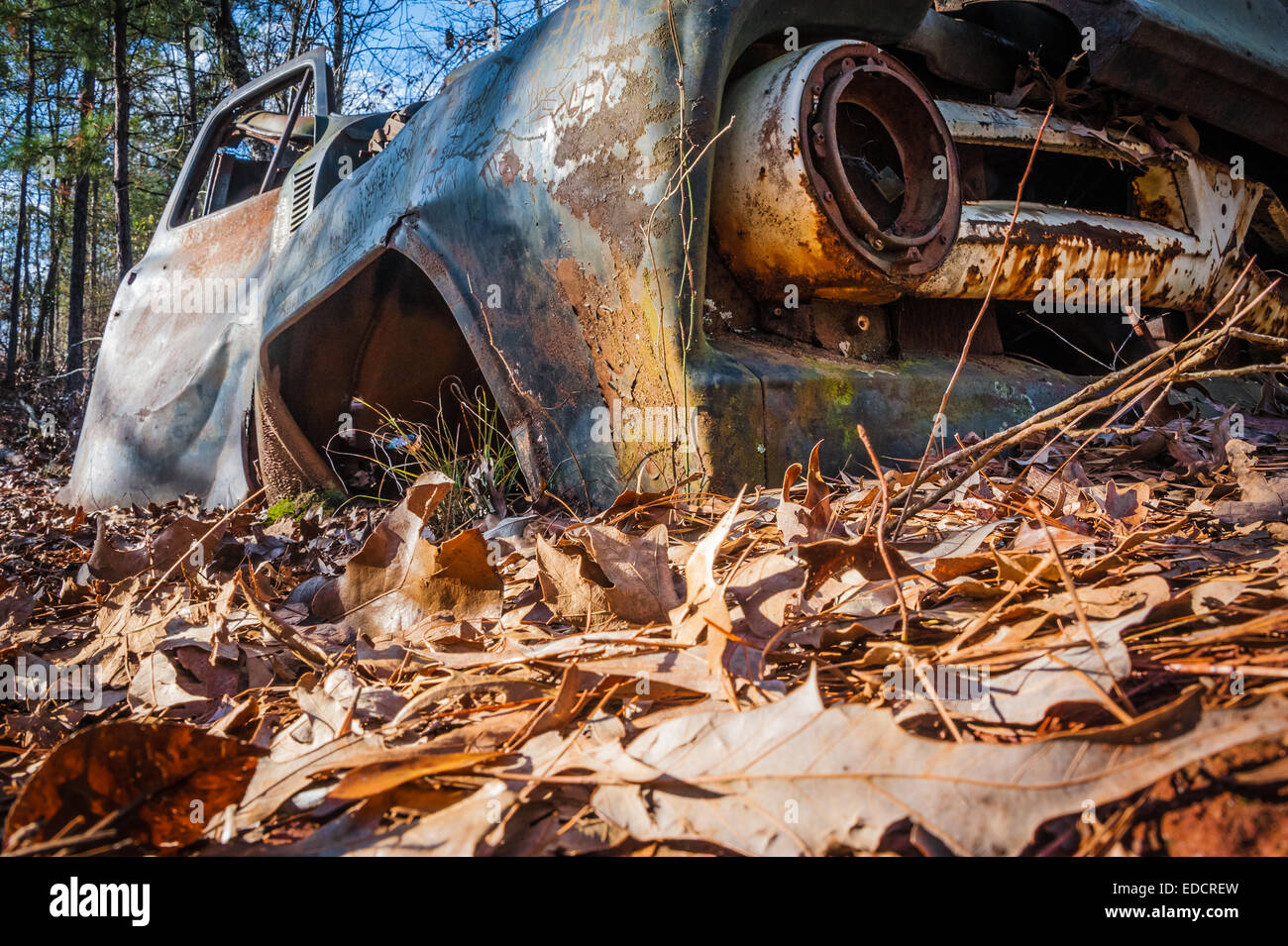 Old, abandoned car along a hiking trail at Providence Canyon State Park in Lumpkin, Georgia, USA. - Stock Image