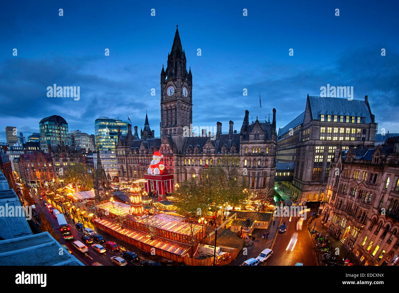 View above Manchester German Christmas Markets Albert Square and Manchester Town Hall - Stock Image