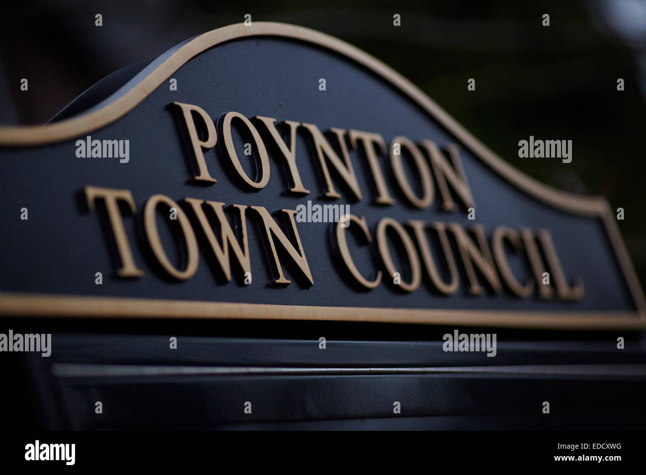 Poynton Village in Stockport Cheshire UK, Poynton Town Council sign - Stock Image