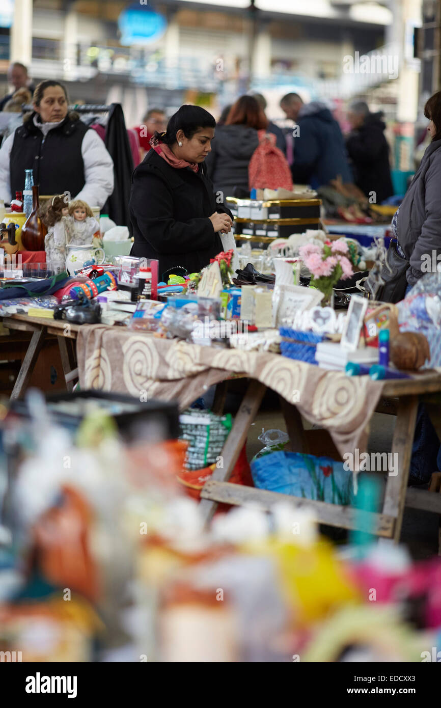 Preston Town Centre in Lancashire, flea market in the centre selling secondhand good on market stalls - Stock Image