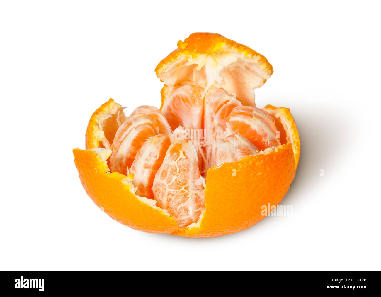 Partially Purified And Broken Tangerine Isolated On White Background - Stock Image