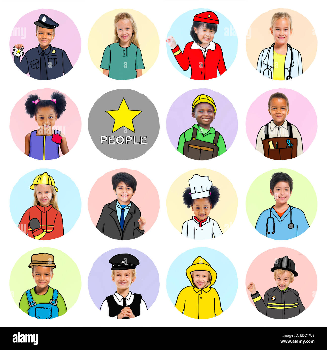 Multiethnic group of Children with Various Jobs Concepts - Stock Image