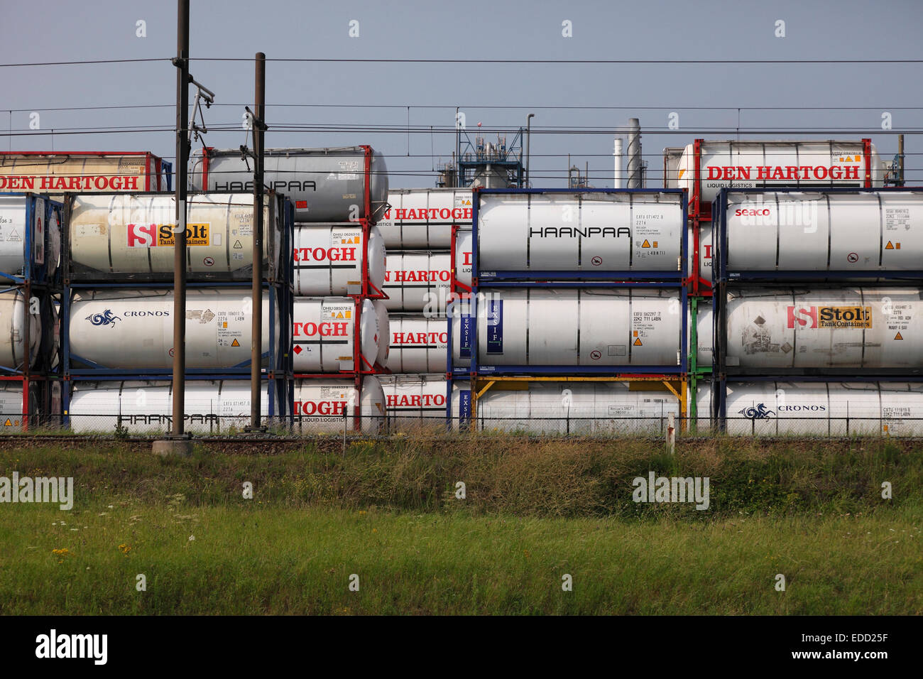 freight trains at the harbour in Rotterdam, Netherland - Stock Image