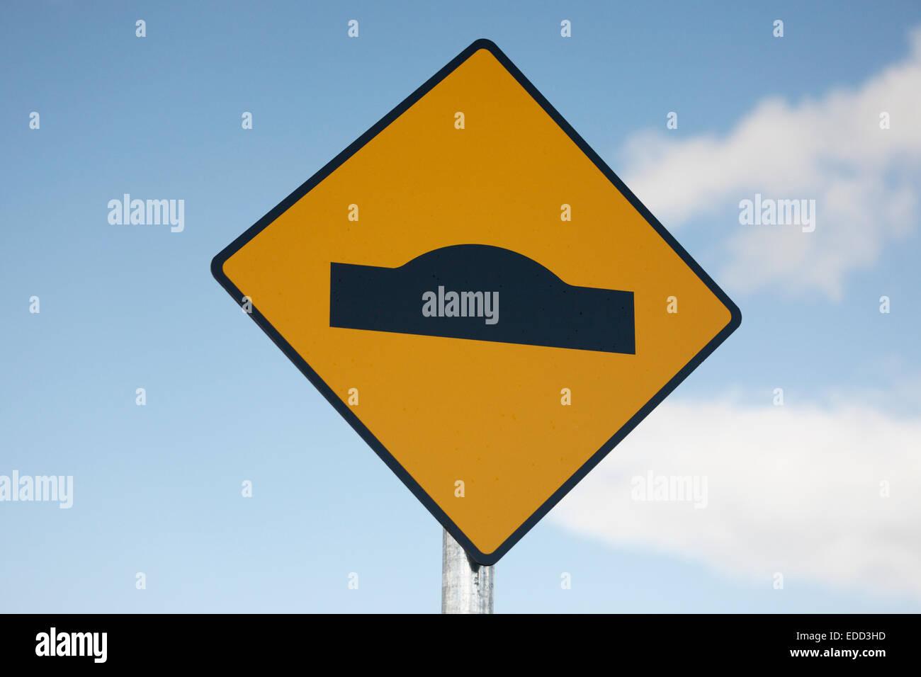 warning sign bump in road, Ireland - Stock Image