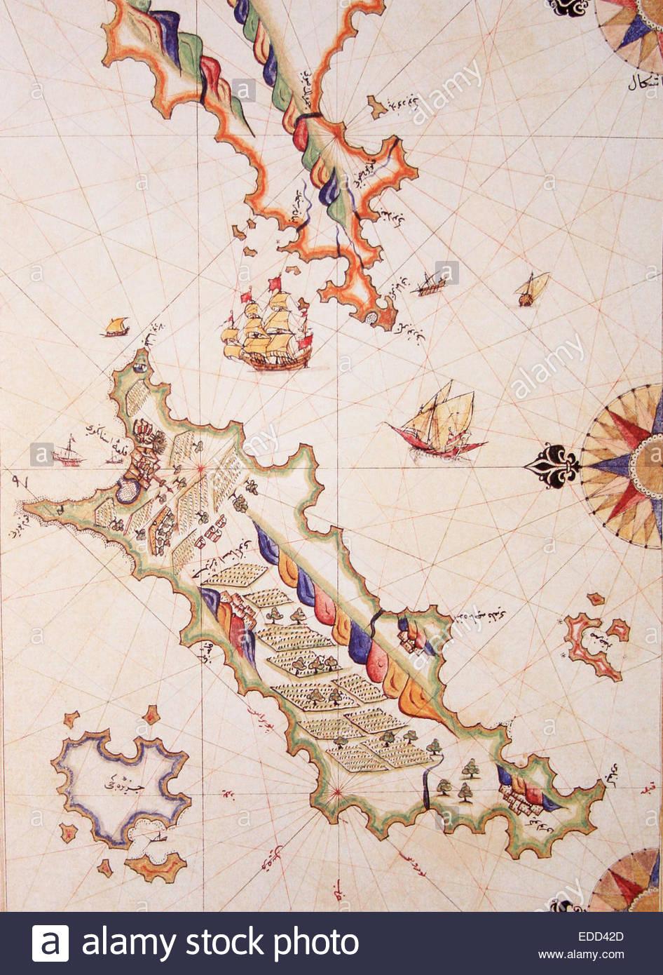 Copy of Piri Reis map on a brochure- Cos (Kos) Island,Greece Stock ...