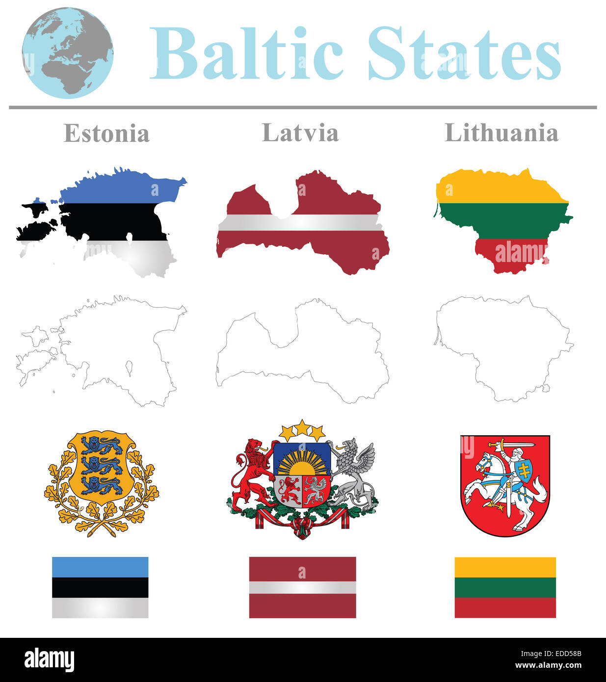 Flags of the Baltic States collection overlaid on outline map isolated on white background Stock Photo