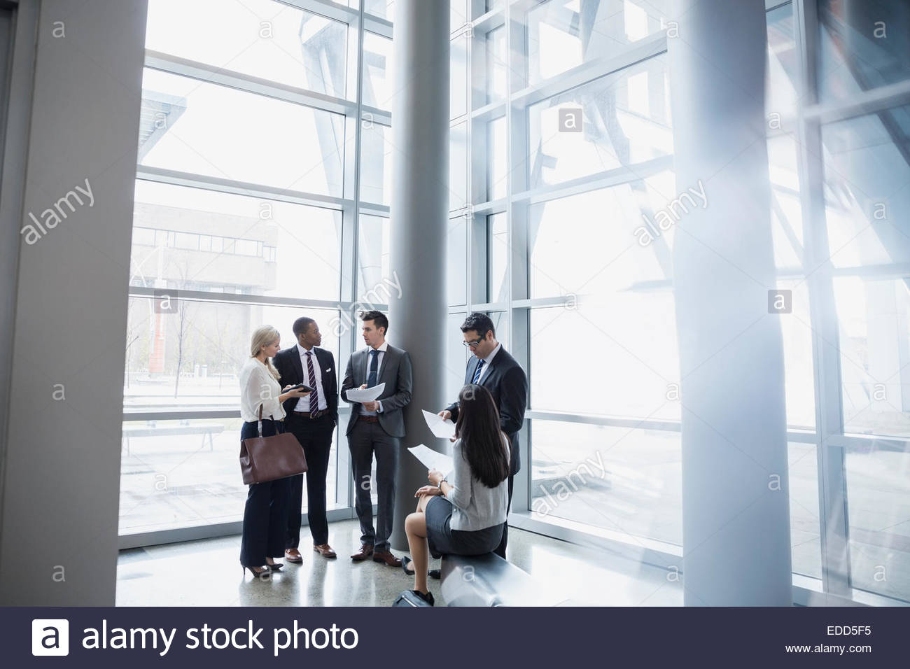 Business people discussing paperwork - Stock Image